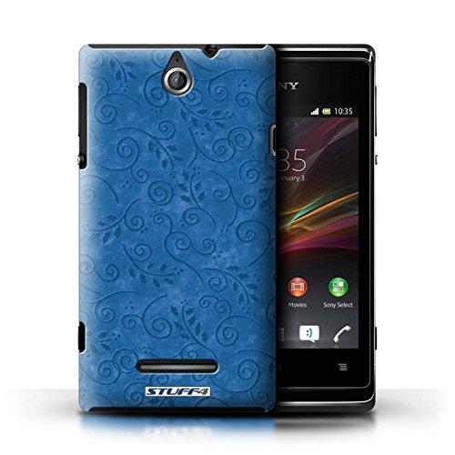 Kobalt® Imprimé Etui / Coque pour Sony Xperia E / Turquoise conception / Série Motif Feuille Remous Bleu