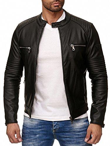 Reslad Kunstlederjacke Herren-Jacke Leder-Jacke Gesteppte Ärmel Übergangs-Jacke Männer Biker-Jacke RS-9015 Schwarz M