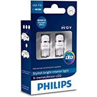 2x Philips LED Lamps Xtreme ultinon T10W5W 6000K Daylight Xenon 12799i60X 2x-tremeultinon LED Interior Light for Car W5W T106000K 12V, PACK of 2, Set of 2