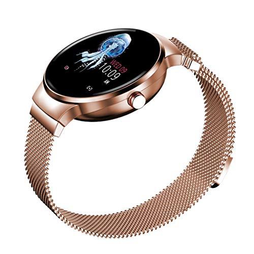 JingJingQi Fitness-Tracker H5 Frauen Smart Uhr IP67 Wasserdicht Herzfrequenzmesser Smartwatch Sport Fitness Tracker Frau Damen Mädchen für Android und iOS, Gold