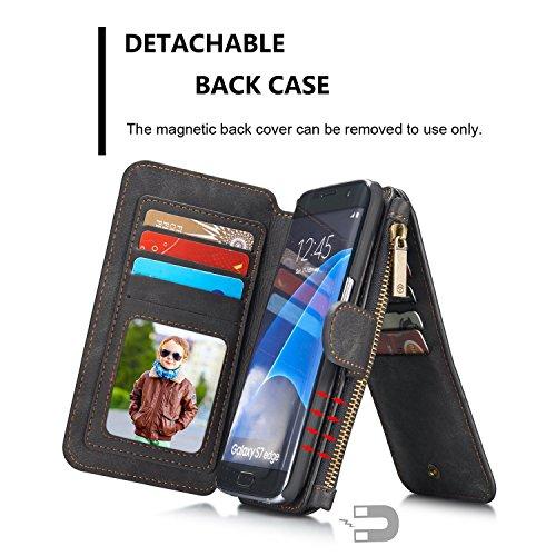 Wkae CaseMe abnehmbare Premium Ledertasche, 13 Kartenfächer, 1 Foto Frame Reißverschluss Magnetische Abdeckung für Samsung Galaxy S7EDGE [5.5Inch] Wallet Case, ( Color : Brown ) Black