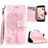 iPhone 4S Wallet Case, iPhone 4 Flip Cover, GrandEver Rose Gold PU Leather Bookstyle Case Tree Cat Butterfly Pattern Cases with Card Slots Magnet Closure Stand Function Phone Holster Cell Phone Case Anti-Drops Dustproof Protective Shell for Apple iPhone 4S/iPhone 4