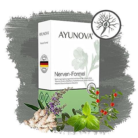 AYUNOVA Nerven-Formel - 60 vegane Kapseln mit der einzigartigen Kombination aus bewährten Pflanzen, essentiellen Vitaminen und Mineralstoffen - Ihr täglicher Beitrag für starke Nerven
