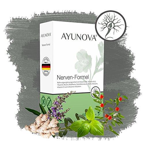 AYUNOVA Nerven-Formel - 60 vegane Kapseln mit der einzigartigen Kombination aus bewährten Pflanzen, essentiellen Vitaminen und Mineralstoffen - Ihr täglicher Beitrag für starke Nerven (Nervenschmerzen)