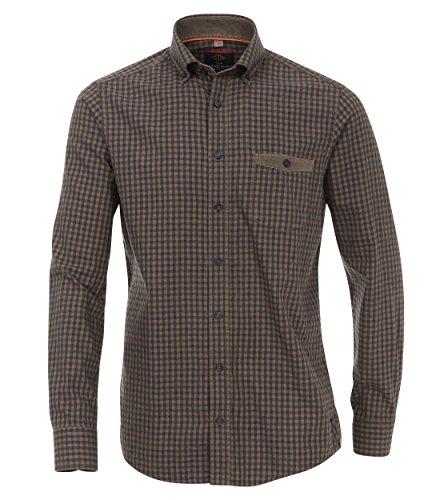 Michaelax-Fashion-Trade -  Camicia classiche  - A quadri - Con bottoni  - Maniche lunghe  - Uomo Braun (300)