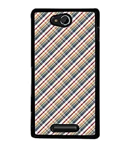 Fuson Premium 2D Back Case Cover Argyle pattern With White Background Degined For Sony Xperia C