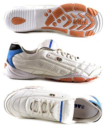 AGLA PROFESSIONAL FIVE TOUCH INDOOR scarpe calcetto futsal pelle e anti-shock system White