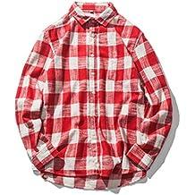 Camisa a Cuadros Casual Hombre Covermason Camisa de Manga Larga de Cuadros de algodón otoñal
