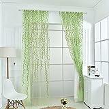 Notdark 1 Stück Transparente Willow Voile Vorhänge Gardine Schal Dekoschal für Schlafzimmer Wohnzimmer Sheer Vorhang 100x200cm/100x270cm (100*270cm, Grün)