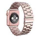 Apple Watch Armband 38mm, Swees Edelstahl Replacement Wrist Strap Band Uhrenarmband mit Metallschließe für Apple Watch 38mm Series 3 / 2 / 1 - Roségold