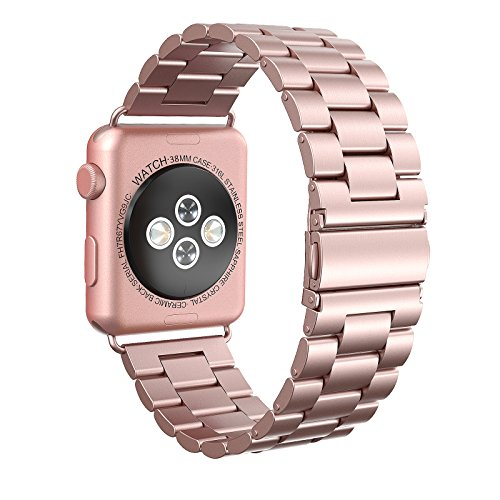 Apple Watch Armband 38mm, Swees Edelstahl Replacement Wrist Strap Band Uhrenarmband mit Metallschließe für Apple Watch 38mm Series 3 / 2 / 1 - Roségold