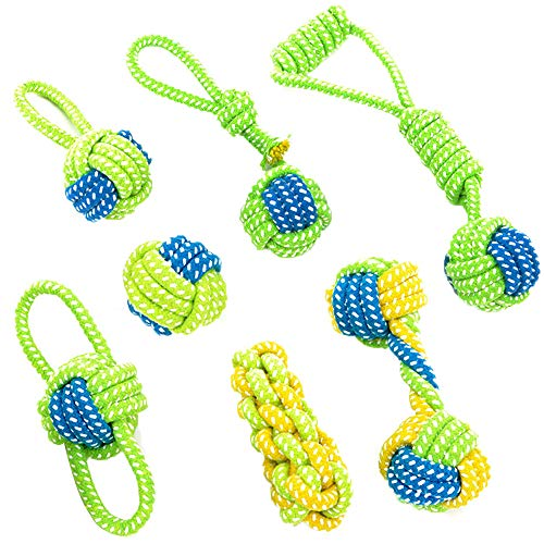 Samtlan Hundespielzeug Haustier Hund Seil Spielzeug Kauspielzeug Hundeseile Baumwollseil Hund Spielzeug Set Interaktive Baumwolle Zähne Reinigung für Kleine bis Mittlere Hunde mit 7 Stücke