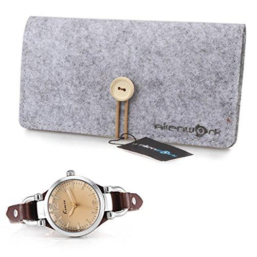 Alienwork Mini Damen/Mächen-Uhr Silber Braun-Glas Leder-Armband Braun YH.KW545S-03 - 3