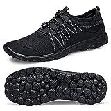 Lavibelle Chaussures de Marche légères Unisexe à Enfiler Mesh - Noir - All Black, 39 EU