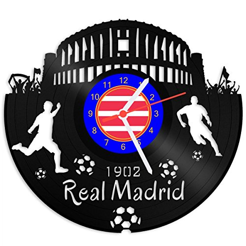 Grabado Línea Tocadiscos Reloj Real Madrid–100% del amor–upcycling Diseño reloj de pared de vinilo fabricado en Alemania.