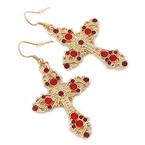 Ruby Red Coloured Crystal Filigree Cross Drop Earrings In Gold Plating - 55mm Length