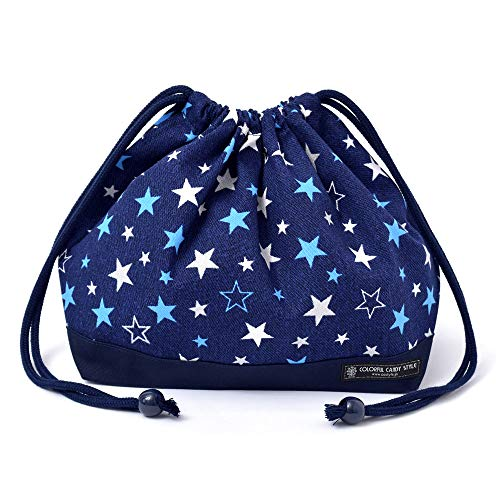 Drawstring Gokigen lunch (medium size) with gusset lunch bag navy blue brilliant star x Ox navy blue made in Japan N3467300 (japan import)