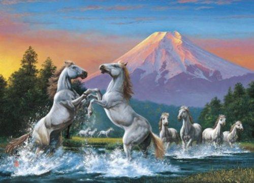 Yanoman - 2000 pièces - Chevaux cabrés devant le Mont Fuji