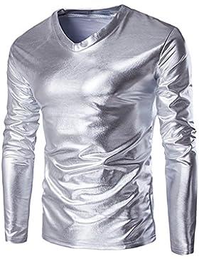Oyedens Camicia Uomo, Mens Metallico Lucente Bagnato Guarda La Maglietta A Maniche Lunghe Top Slim Fit Collo Camicetta