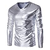 IMJONO Herren T-Shirts Mens Metallic Shiny Wet Look Long Sleeve T-Shirt Top Slim Fit V Neck Blouse(Medium,Silber)