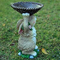 zenggp Bird Feeder Pastoral Cartoon Rabbit Scenery Ornaments Hand-painted Home Decorations Accessories,Tray-Height30cm