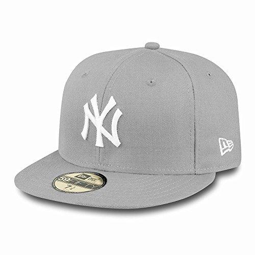 New Era Erwachsene Baseball Cap Mütze Mlb Basic NY Yankees 59Fifty Fitted grau-weiß