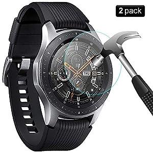 PaceBid [2 Stück] Samsung Galaxy Watch 46mm Panzerglas Schutzfolie [Anti-Kratzer] 9H Härte kristallkla Kratzfest Hartglas Displayschutzfolie Glasfolie für Samsung Galaxy Watch 46mm
