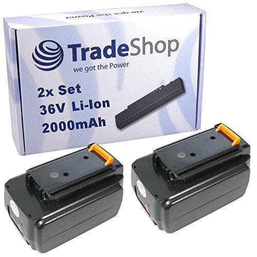 Preisvergleich Produktbild 2x Trade-Shop Premium Li-Ion Qualitäts Akku 36V / 2000mAh ersetzt Black & Decker BL1336, BL1336-XJ, BL2036, BL2036-XJ, LBXR36 für CST800 CST1200 GTC3655L GLC3630L GWC3600L GLC3630L20 GWC3600L20 GTC3655L20