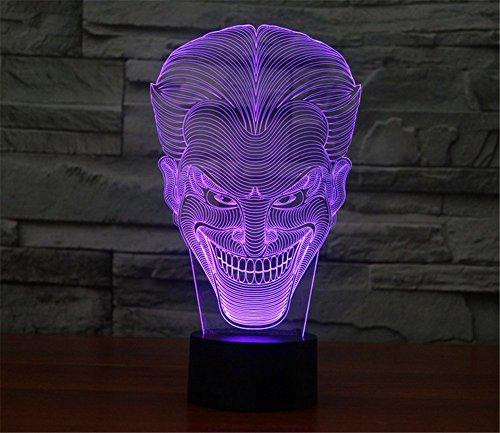 Tabelle Panel (SmartEra® 3D Optische Täuschung 2016 New Lächeln Jack Panel Nacht 7 Farbwechsel USB Touch Taste LED Schreibtisch Tabellen Licht Lampe Tischleuchte)