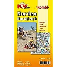 Norden/Norddeich: 1:15.000 Stadtplan und Freizeitkarte 1:25.000 mit Rad- und Wanderwegen, inkl. Cityplan 1:7.500 (KVplan Ostfriesland-Region)