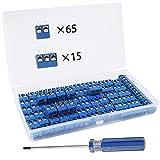 RUNCCI 80 Pezzi 5mm 15A 300V 2 Pin / 3 Pin Morsettiera a Vite PCB Blu per Prototipo PCB Scheda Circuito Stampato (65pz 2 Pin, 15pz 3 Pin)
