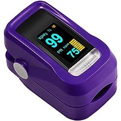 Oxímetro de Dedo GRDE, Medidor de Oxígeno en Sangre y Monitor de Frecuencia Cardíaca con Pantalla OLED, Pulsioxímetro Oxígeno en Sangre para Adultos y Niños Color Violeta