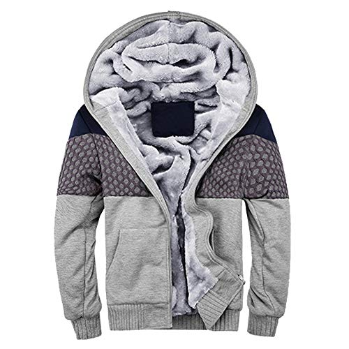 Preisvergleich Produktbild KUDICO Herren Mäntel Winter warm Kaschmir Lineing ReißVerschluss Kapuzenjacke Outwear Tops (Grau 2,  3XL)