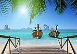 AG Design FTS 1315 Thai Strand Boote, Papier Fototapete - 360x254 cm - 4 Teile, Papier, Multicolor, 0,1 x 360 x 254 cm