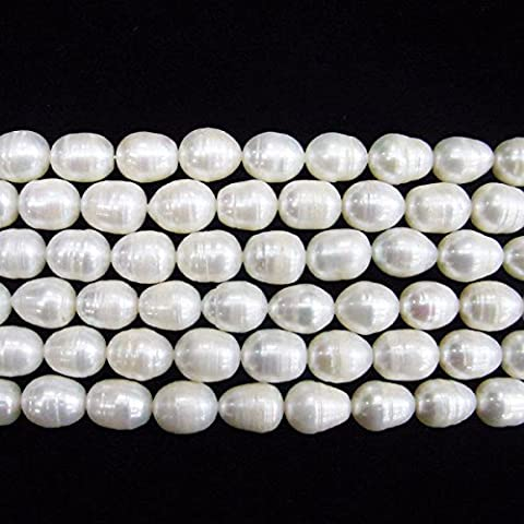 TheTasteJewelry 10-11mm Rice White Freshwater Cultured Pearl Beads 15 inches 38cm Jewelry Making Necklace