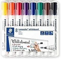 Staedtler Lumocolor 351 WP8 Whiteboard-Marker (Rundspitze ca. 2 mm Linienbreite, Set mit 8 Farben, hohe Qualität,...