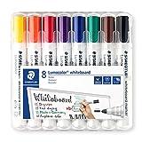 Staedtler Lumocolor 351 WP8 Whiteboardmarker, Rundspitze, 2 mm, aufstellbare Box mit 8 farben