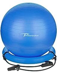 Timberbrother Pelota de Ejercicio / Bola de Gimnasia, 65 cm de Diámetro con Bandas de Resistencia & Bomba para Yoga, Pilates, Ejercicio Físico y Terapia (azul)