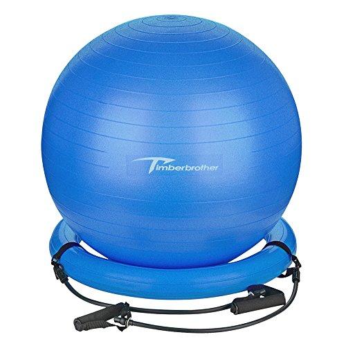 Timberbrother Anti-Burst Gymnastikball / Swiss Ball 65 cm Durchmesser mit Widerstandsbändern für Yoga, Pilates, Fitness, Physiotherapie, Fitnessstudio und Home Exercise - Inklusive Fußpumpe (Blau)