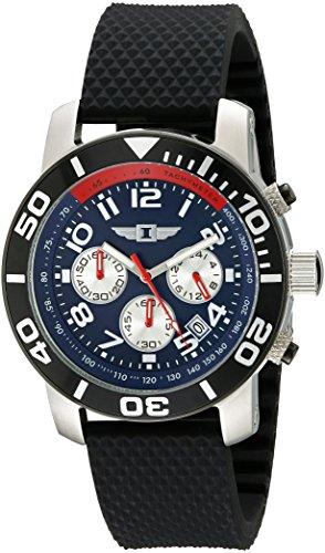 I by Invicta Men's 45mm Chronograph Black Silicone Band Steel Case Quartz Blue/White Date Watch 41701-003