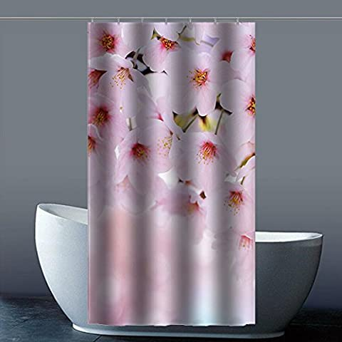 Coutume Peach Blossom 100% polyester usine Rideau de douche Shower Curtain, Polyester, A, 36x72(inches)