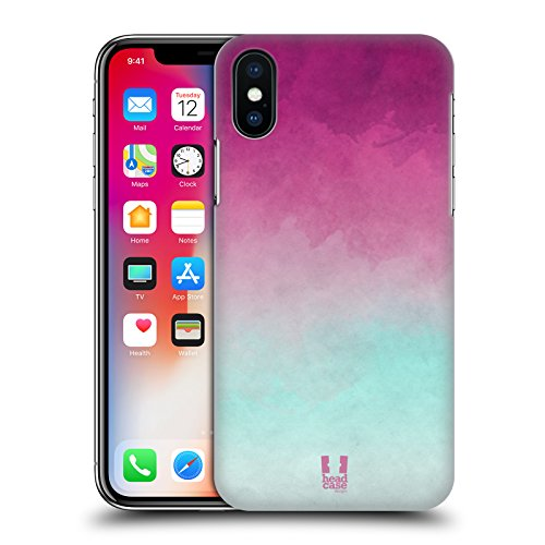 Head Case Designs Azzurro E Arancione Aquarello Sfumato Cover Retro Rigida per Apple iPhone X Porpora E Blu Chiaro