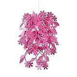 MiniSun – Schöner und moderner Lampenschirm in rosa mit einem hängenden Blumen- und Blütenmotiv – für Hänge- und Pendelleuchte