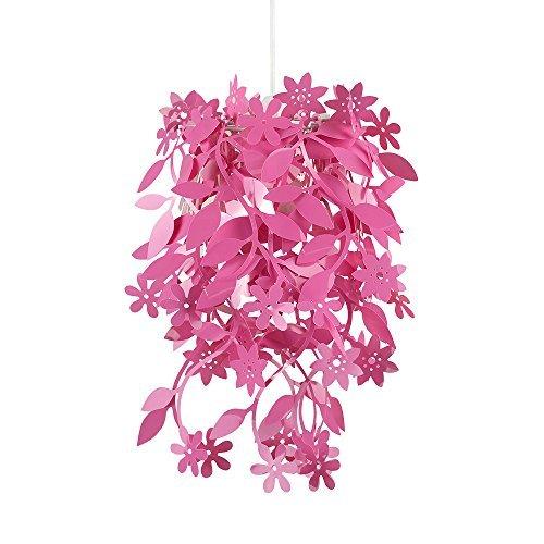 Schöner und moderner Lampenschirm in rosa mit hängendem Blumen- und Blütenmotiv - für Hänge- und Pendelleuchte
