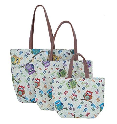 Tasche Shopper Schultertasche Beachtasche Freizeittasche Damentasche Eulen als 3 er Set Gobelin Signare. Fa. Bowatex -