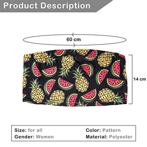 Damen Tube Top Bikini Bustier Sommer Coachella Style Bandeau Party Outfit Look Trägerlos Schulterfreies Fullprint Onesize Pineapple And Watermelon