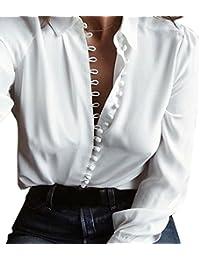 Logobeing Camisa Larga Del Botón de Las Mujeres Flip Collar Manga Larga Casual Top Blusa Blanca