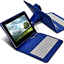 """Aventus Acer Aspire Switch 10 E (SW3-013) 10.1"""" (Blue) Adjustable PU Leather QWERTY Keyboard Stand Case Cover for Android Tablet with micro USB Connection"""