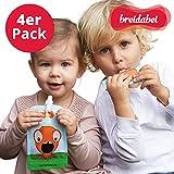 4 Stk. Quetschbeutel Wiederverwendbar BPA frei I Quetschies Baby Brei & Nahrung I Babybrei Behälter auslaufsicher zum Einfrieren & Unterwegs I 130ml