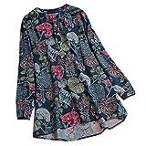 MRULIC Damen Fledermaus Hemd Lässig Locker Top Dünnschnitt Bluse Frühling T-Shirt Leinenbluse Freundin(F3-Grün,EU-48/CN-4XL)
